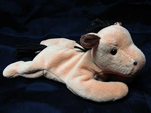 TY Beanie Babies Derby the Horse Stuffed Animal Plush Toy - 8 inches long - Light Brown with White Diamond on Head