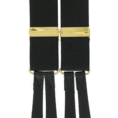 Button Braces (BR13)- Leather Ends - Black by Best Braces Company