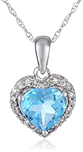 10k White Gold, December Birthstone, Blue Topaz and Diamond Heart Pendant