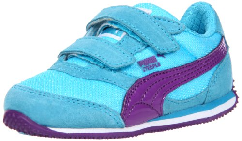 Puma Steeple Glitter V Sneaker (Toddler/Little Kid/Big Kid),Blue Atoll/Amaranth Purple,13 M US Little Kid