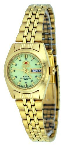 Orient #BNQ1W001R Tri Star tono de oro para mujer esfera reloj automático