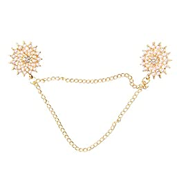 Round Collar Tips Shirt Stud Neck Brooch with Chain Tassels Golden