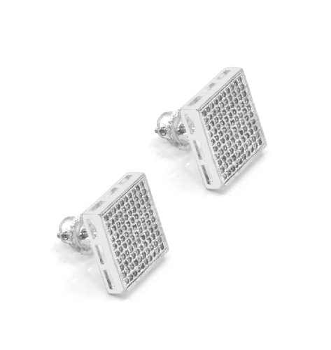Mens 13Mm White Gold Plated Cz Micro Pave Iced Out Hip Hop Square Stud Earrings Screw Backs (10 Lines) 02