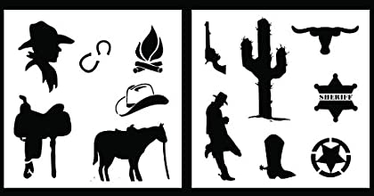 Auto Vynamics - STENCIL-COWBOYSET01-10 - Detailed Cowboy  Wild West Stencil Set - Features Boots Hor