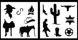 Auto Vynamics - STENCIL-COWBOYSET01-10 - Detailed Cowboy / Wild West Stencil Set - Features Boots, Horses, Cactii, Cowboys, & More! - 10-by-10-inch Sheets - (2) Piece Kit - Pair of Sheets