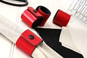 Set of 4 Red Leatherboard Napkin Rings Made in UK by Creative Tops