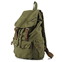 Pellor Vintage Canvas Leather Hiking Travel Backpack Tote Bag (Green)