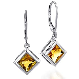 Sterling Silver 7X7 mm Square Citrine Earrings
