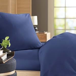 Pinzon by Amazon Ultrasoft Bettwäscheset, Perkal, Blau - Bijou Blue, 135x200 cm & 1 Kissenbezug (80 x 80 cm)