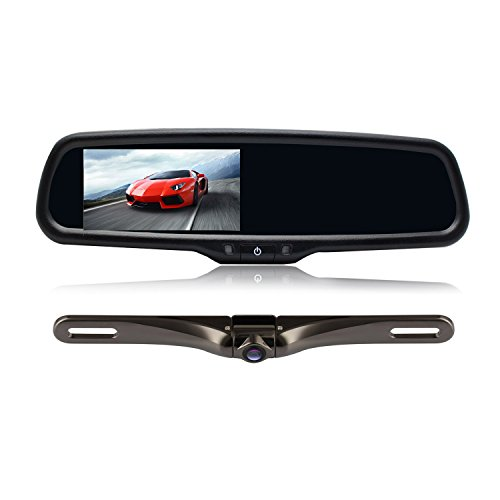 AUTO-VOX Car Rearview Mirror Monitor Accessories with 4.3 inch Dual Video Inputs with License Plate Backup Camera for Car Parking Reversing Assist