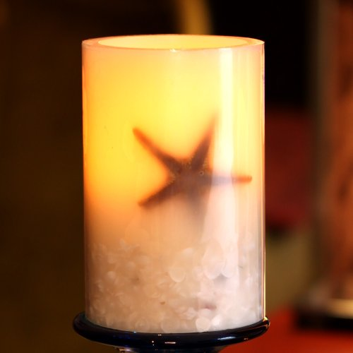 Dfl 4X6 Inch Yellow Seastar Flameless Led Pillar Candle With Timer,Work With 2 C Batteries,Real Seastar And Shell Was Inlayed In It