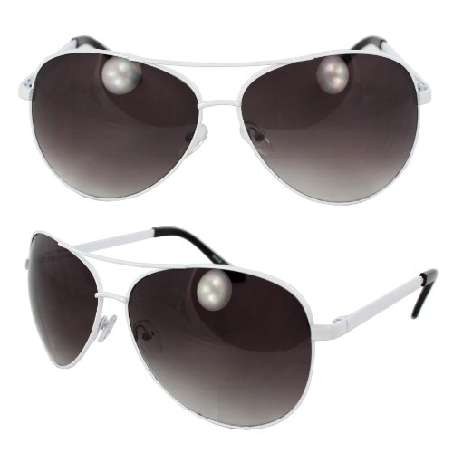 MLC xflame Eyewear Pilot Fashion Aviator Sunglasses White Frame with Purple Black Lenses for Men and Women