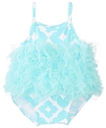 Mud Pie Baby-Girls Newborn Mesh Print Swimsuit, Blue/White, 6-9 Months