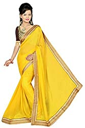 Khushi Fashion Women's Georgette Embroidered Saree - 101_Yellow