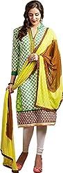 Sanvan Green & Yellow Printed Cotton Salwar Suit Dress Material_SV248SF
