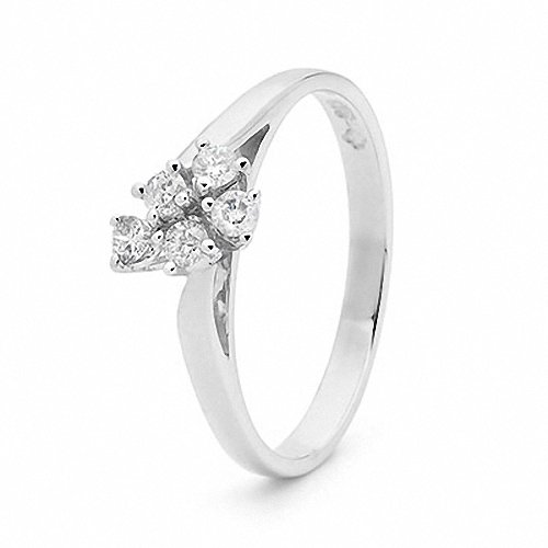 From SYDNEY Bee Anniversary 9k 9ct White Gold Cluster Ring 0.05ct JP2 White Channel Diamond P 7.75