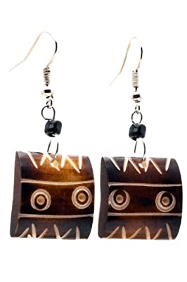 Maisha Beautiful African Fair Trade Brown Square Up cycled Camel Batiked Bone Earrings