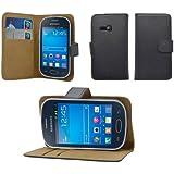 iProtect Kunstledertasche im Bookstyle schwarz für Samsung Galaxy Fame Lite S6790 Wallet Schutzhülle mit Standfunktion