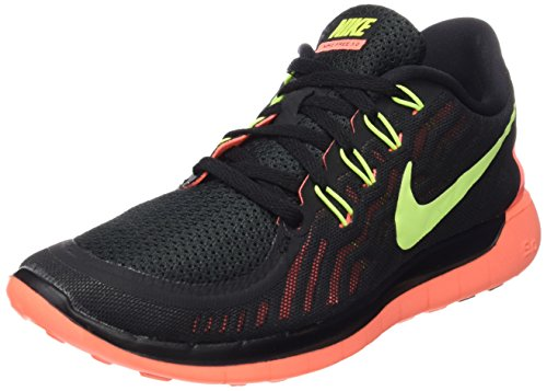 Women's Nike Free 5.0 Running Shoes Black/Bright Mango/Volt Size 9 M US