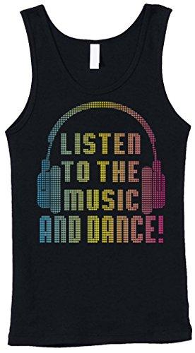 Blittzen Womens Stretch Rib Tank Listen to the Music & Dance, Medium, Black