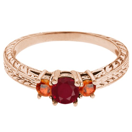 0.56 Ct Round Red Ruby Orange Sapphire 18K Rose Gold 3-Stone Ring