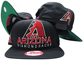 Arizona Diamondbacks Black Plastic Snapback Adjustable Plastic Snap Back Hat Cap by New Era