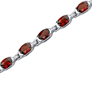 Exceptionally Stunning: 9.00 carats total weight Oval Shape Garnet Gemstone Bracelet in Sterling Silver Rhodium Finish