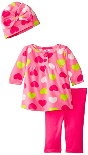 Gerber Baby Girls' 3 Piece Micro Fleece Top Cap and Legging Set, Hearts, 24 Months