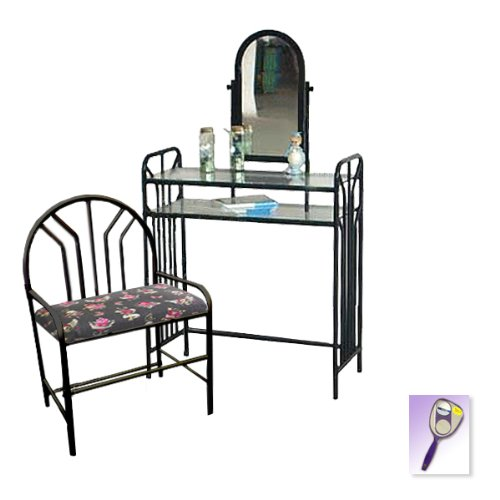 New Black Metal Finish Make Up Vanity Table with Mirror & Skulls & Hearts Themed Bench