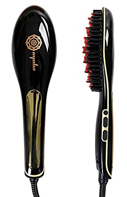 EQOBA Ceramic Hair Straightener Brush with Anti-Scald Protection and LCD Display