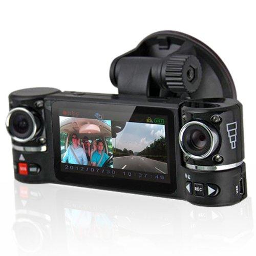 inDigi® NEW! 2.7 TFT LCD Dual Camera Rotated Lens Car Security Camera Recorder Dash Cam relaxgo 5 android touch car dvr gps navigation rearview mirror car camera dual lens wifi dash cam full hd 1080p video recorder