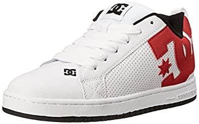 DC Men's Court Graffik Skate Shoe, White/Red/Black, 6 D US