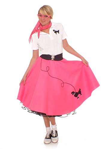 Hip Hop 50S Shop Adult 7 Piece Poodle Skirt Outfit - 3Xl Hot Pink