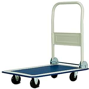 Chariot de transport diable platforme pliable 150kg Roues en caoutchouc