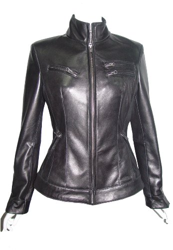 Nettailor Women 4199 Soft Leather New Casual Rider Jacket Zip Front China Collar