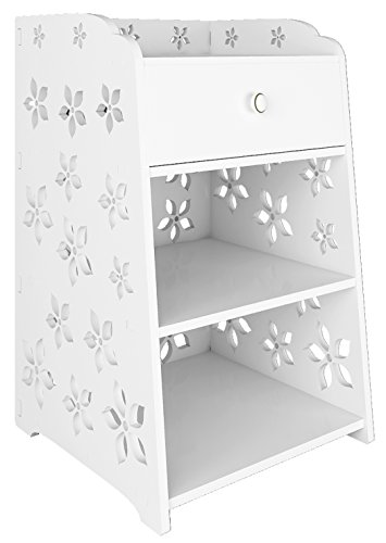Mybestfurn Fireproof Waterproof and Dampproof White Plastic-Wood Nightstand Bedside Drawer Table Bathroom Storage Cabinet With Open Shelf - White Flower Small Size Drawer 253 (Bathroom Table White compare prices)