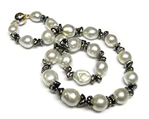 White South Sea Baroque & Tahitian Keshi Pearl Necklace