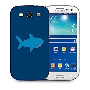 Snoogg Blue Shark Printed Protective Phone Back Case Cover For Samsung S3 / S III