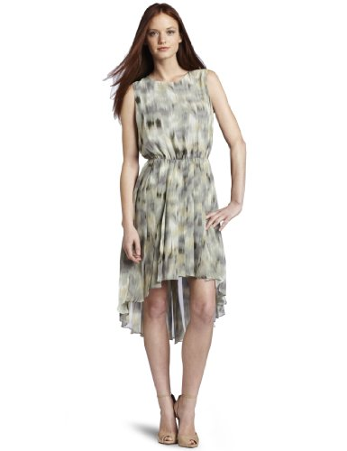 Kenneth Cole New York Women's Petite  Printed Ikat Pleated Dress