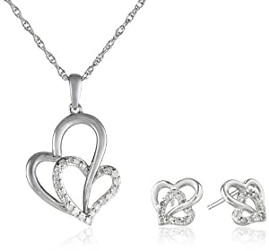 Sterling Silver 1/5cttw Diamond Double Heart Pendant Necklace and Earrings Jewelry Set by The Aaron Group - HK DI