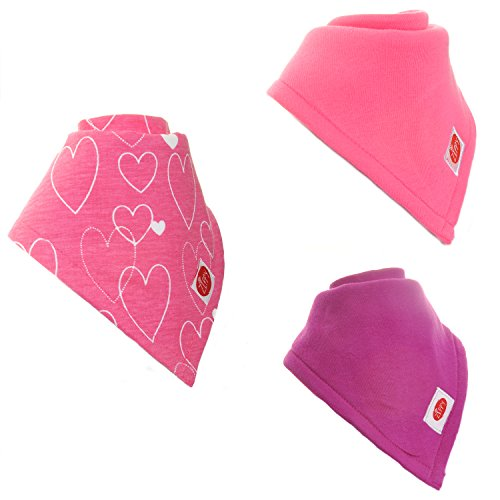 Zippy Absorbent Bandana Bib for Babies and Toddlers - Absorbent 100% Cotton Front Drool Bibs with Adjustable Snaps (3 Pack Gift Set) Girls Bright