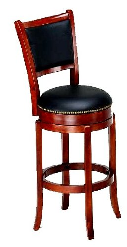 Soft Leather Swivel Bar Stool with Leather Backrest in Cherry Finish