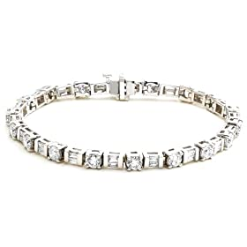 14k Choice of White or Yellow Gold Baguette and Round Diamond Tennis Bracelet (5 1/2 cttw, H-I Color, SI1-I2 Clarity), 7