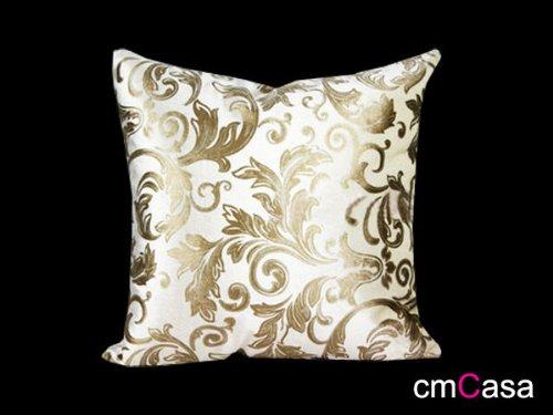 cmCasa[1956]18x18 Inch Velvet Decorative Throw Pillow Cover Cushion Case, Royal (White Gold)