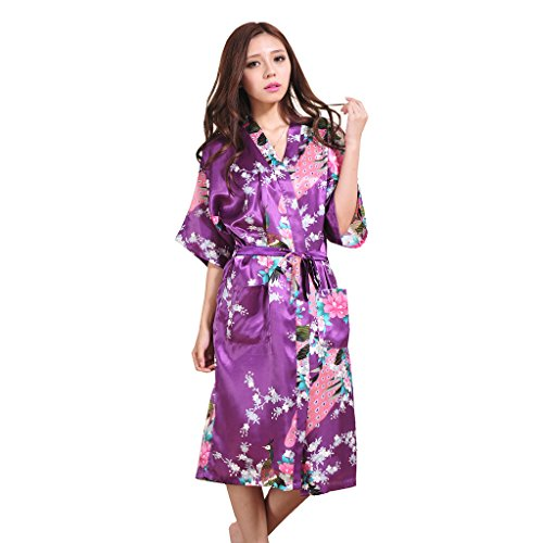 Yidarton Womens Long Fashion Kimono Robe with Peacock and Blossoms Purple Small (Personalized Bridesmaid Robes compare prices)