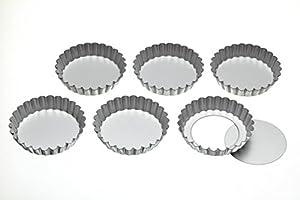 Kitchen Craft Lot de 6 mini-moules à tarte/flan à base amovible 10 cm