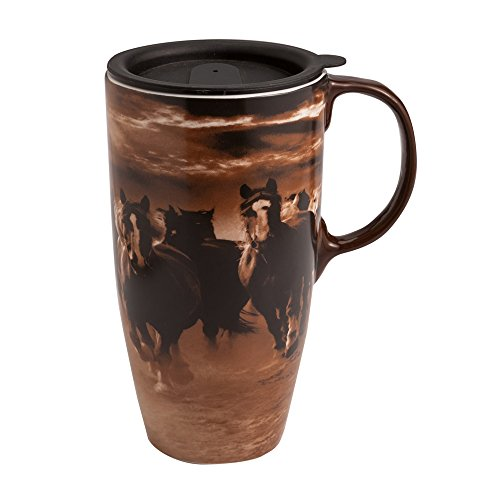 Running Horses Latte Travel Mug (Peachy Kitchen compare prices)