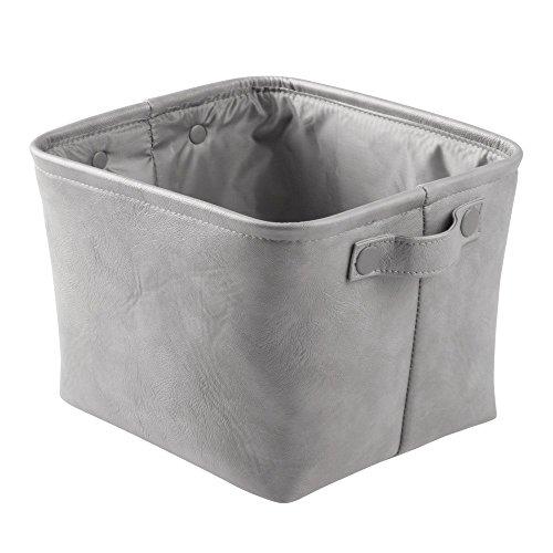 InterDesign Lauren Bathroom Storage Bin for Towels, Shampoo, Cosmetics - Medium, Vegan Leather, Gray