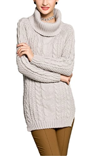 V28® Women's Cowl Neck Cable Knit Long Sleeve Knitwear Pullover Sweater (X-Large, LightGray) (Gray Cowl Neck Sweater compare prices)