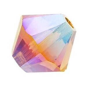 Swarovski Crystal #5301 4mm Bicone Beads Light Smoked Topaz AB 2X (50)